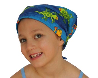 Children's Flannel Head Scarf, Girl's Cancer Headwear, Chemo Hat, Alopecia Head Cover, Head Wrap, Cancer Gift, Hair Loss, Blue Salamander