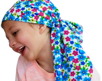 Ava Joy Children's Pre-Tied Head Scarf, Girl's Cancer Headwear, Chemo Head Cover, Alopecia Hat, Head Wrap for Hair Loss - Bright Flowers