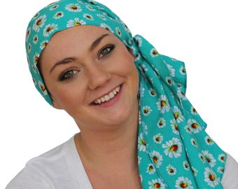 Jessica Pre-Tied Head Scarf, Women's Cancer Headwear, Chemo Scarf, Alopecia Hat, Head Wrap, Head Cover for Hair Loss - Teal Green Flowers