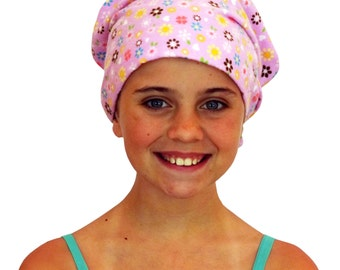 Jaye Children's Flannel Head Cover, Girl's Cancer Headwear, Chemo Scarf, Alopecia Hat, Head Wrap, Cancer Gift for Hair Loss -Lavender Flower