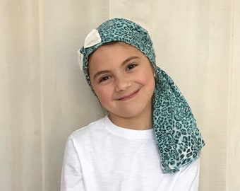 Ava Children's Pre-Tied Head Scarf, Girl's Cancer Hat, Chemo Head Cover, Alopecia Headwear, Head Wrap, Cancer Gift, Hair Loss, Blue Leopard