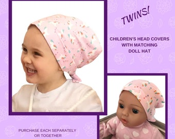 Shiri Children's Doll Head Scarf - Matching Doll Hat To Mia Scarf, Hat, Head Cover, Head Wrap, Cancer, Chemo, Alopecia, Hair Loss, Unicorns