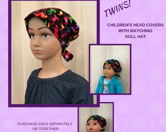 Children's Doll Head Scarf, Matching Doll Hat To Mia Scarf, Hat, Head Cover, Head Wrap, Cancer, Chemo, Alopecia, Hair Loss, Tie Dye Unicorns