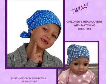 Shiri Children's Doll Head Scarf A Matching Doll Hat To Mia Scarf, Hat, Head Cover, Cancer, Chemo, Alopecia, Hair Loss, Petite Blue Daisies