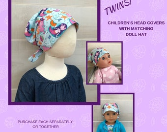Twin Head Scarves, Mia Child's Head Scarf And Shiri Doll Hat, Cancer Gift, Chemo Hat, Cancer Head Wrap, Alopecia, Hair loss, Mermaids