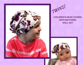 Twin Head Scarves, Mia Child's Head Scarf, Shiri Doll Hat, Cancer Gift, Chemo Hat, Cancer Head Wrap, Alopecia, Hair loss, Purple Butterflies