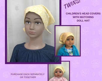 Children's Doll Head Scarf, Matching Doll Hat To Jill Scarf, Hat, Head Cover, Head Wrap, Cancer, Chemo, Alopecia, Hair Loss, Yellow Flowers