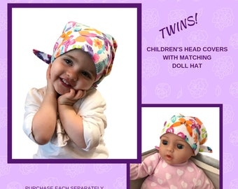 Twin Head Scarves, Jaye Flannel Child's Head Scarf And Matching Shiri Doll Hat, Cancer Gift, Chemo, Cancer, Alopecia, Hair loss Butterflies