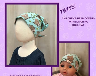 Twin Head Scarves, Child's Head Scarf And Matching Doll Hat, Cancer Gift, Chemo Gift, Alopecia Gift, Hair loss, Turquoise Blue Sloths