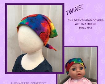 Twin Head Scarves, Child's Head Scarf And Matching Doll Hat, Cancer Gift, Chemo Gift, Alopecia Gift, Hair loss, Chemo Gift, Rainbow Hearts