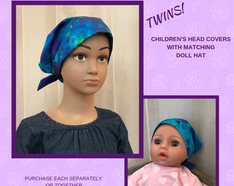 Twin Head Scarves, Child's Head Scarf And Matching Doll Hat, Cancer Gift, Chemo Gift, Alopecia Gift, Hair loss Gift, Chemo Gift, Blue Hearts
