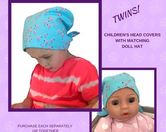 Shiri Children's Doll Head Scarf - Matching Doll Hat To Our Mia Scarf, Hat, Head Cover, Cancer, Chemo, Alopecia, Hair Loss, Pink Flamingos