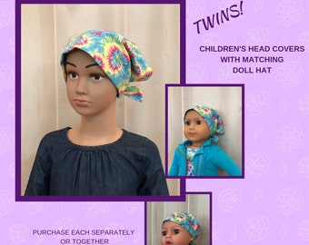 Children's Doll Head Scarf - Matching Doll Hat To Mia Scarf, Hat, Head Cover, Head Wrap, Cancer, Chemo, Alopecia, Hair Loss, Blue Tie Dye