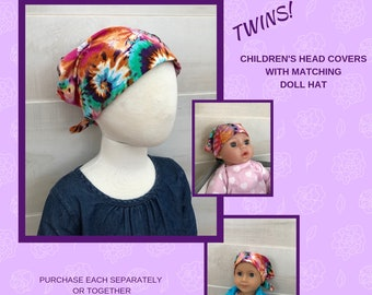 Twin Head Scarves, Mia Child's Head Scarf And Shiri Doll Hat, Cancer Gift, Chemo Hat, Cancer Head Wrap, Alopecia, Hair loss, Tie Dye