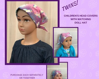 Twin Head Scarves, Mia Child's Head Scarf And Shiri Doll Hat, Cancer Gift, Chemo Hat, Cancer Head Wrap, Alopecia, Hair loss, Unicorn Sparkle