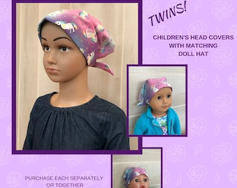 Twin Head Scarves, Jill Childs Head Scarf And Shiri Doll Hat, Cancer Gift, Chemo Hat, Cancer Head Wrap, Alopecia, Hair loss, Unicorn Sparkle