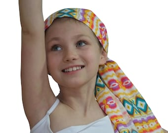 Ava Joy Children's Pre-Tied Head Scarf, Girl's Cancer Headwear, Chemo Head Cover, Alopecia Hat, Head Wrap,  Hair Loss - Yellow Aztec