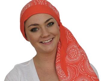 Carlee Pre-Tied Head Scarf - A Women's Cancer Headwear, Chemo Scarf, Alopecia Hat, Head Wrap, Head Cover for Hair Loss - Orange Medallion
