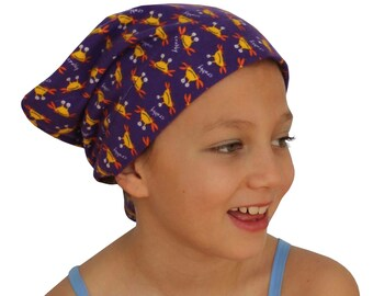 Jaye Children's Flannel Head Cover, Girl's Cancer Headwear, Chemo Scarf, Alopecia Hat, Head Wrap, Cancer Gift for Hair Loss - Purple Crabs