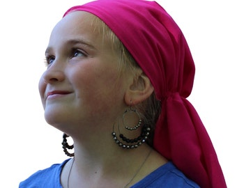 Ava Joy Children's Pre-Tied Head Scarf, Girl's Cancer Headwear, Chemo Head Cover, Alopecia Hat, Head Wrap, Cancer Gift for Hair Loss - Pink