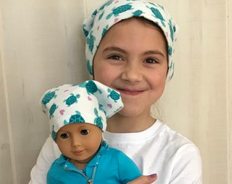 Twin Head Scarves, Child's Head Scarf And Matching Doll Hat, Cancer Gift, Chemo Gift, Alopecia Gift, Hair loss Gift, Blue Green Turtles
