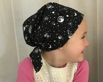 Children's Head Scarf, Girl's Chemo Hat, Cancer Head Cover, Alopecia Headwear, Head Wrap, Cancer Gift for Hair Loss, Glow In The Dark Sky
