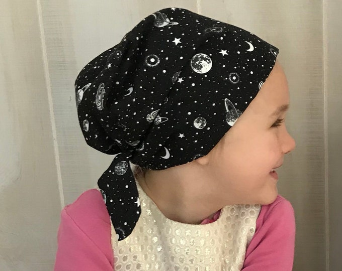 Featured listing image: Children's Head Scarf, Girl's Chemo Hat, Cancer Head Cover, Alopecia Headwear, Head Wrap, Cancer Gift for Hair Loss, Glow In The Dark Sky