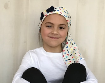 Ava Children's Pre-Tied Head Scarf, Girl's Cancer Hat, Chemo Head Cover, Alopecia Headwear, Head Wrap, Cancer Gift, Hair Loss Gift, Hearts