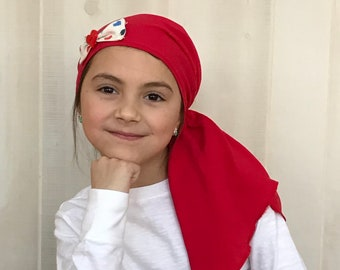 Ava Children's Pre-Tied Head Scarf, Girl's Cancer Hat, Chemo Head Cover, Alopecia Headwear, Head Wrap, Cancer Gift, Hair Loss, Red Hearts