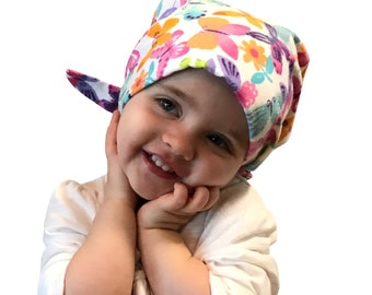 Jaye Children's Flannel Head Scarf, Girl's Cancer Hat, Chemo Head Cover, Alopecia Hat, Head Wrap, Cancer Gift, Hair Loss Pastel Butterflies