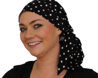 Jessica Pre-Tied Head Scarf, Women's Cancer Headwear, Chemo Scarf, Alopecia Hat, Head Wrap, Head Cover for Hair Loss - Black and White Dots