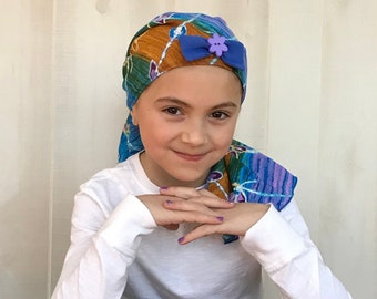 Child's Pre-Tied Head Scarf, Girl's Chemo Hat, Cancer Head Cover, Alopecia Headwear, Head Wrap, Cancer Gift, Hair Loss, Blue Tie Dye Flower