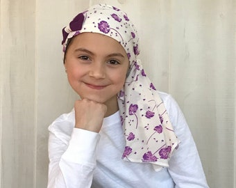 Child's Pre-Tied Head Scarf, Girl's Chemo Hat, Cancer Head Cover, Alopecia Headwear, Head Wrap, Cancer Gift, Hair Loss, Purple Wishes