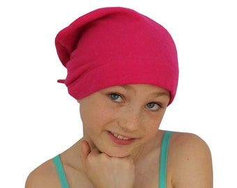Children's Flannel Head Scarf, Girl's Cancer Headwear, Chemo Hat, Alopecia Head Cover, Head Wrap, Cancer Gift, Hair Loss, Chemo Gift, Pink