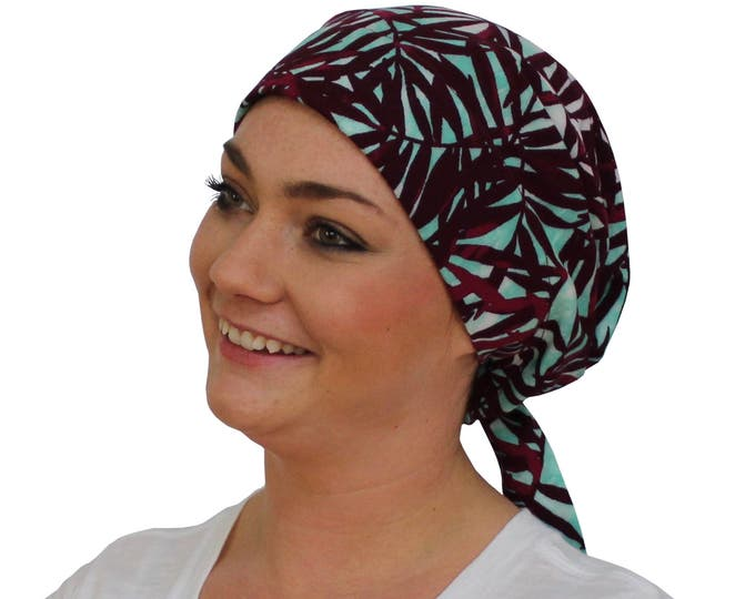 Featured listing image: Gabrielle Pre-Tied Head Scarf -Women's Cancer Headwear, Chemo Scarf, Alopecia Hat, Head Wrap,  Head Cover for Hair Loss - Cranberry Leaves