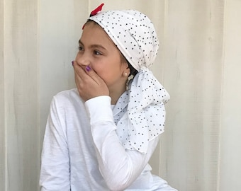 Child's Pre-Tied Head Scarf, Girl's Chemo Hat, Cancer Head Cover, Alopecia Headwear, Head Wrap, Cancer Gift, Hair Loss, Patriotic Stars