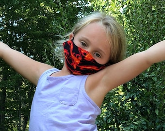 Washable Face Mask, Ages 5 - 12, Adjustable Elastic, Reusable Face Covering, Child Sizes, Flames