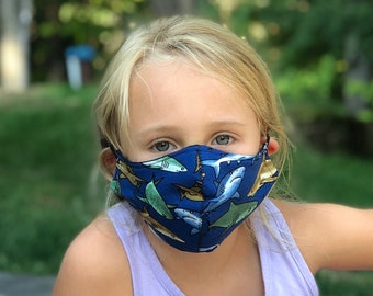 Washable Face Mask, Ages 5 - 12, Adjustable Elastic, Reusable Face Covering, Child Sizes, Sharks