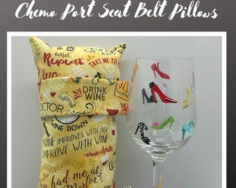 Seatbelt Pillow, Get Well Soon, Chemo Gift, Wine Lover