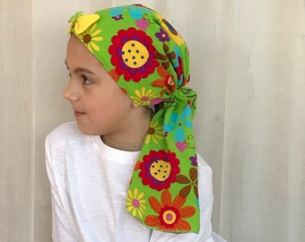 Child's Pre-Tied Head Scarf, Girl's Chemo Hat, Cancer Head Cover, Alopecia Headwear, Head Wrap, Cancer Gift, Hair Loss, Happy Green Flowers