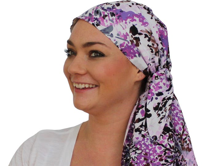 Featured listing image: Jessica Pre-Tied Head Scarf - Women's Cancer Headwear, Chemo Scarf, Alopecia Hat, Head Wrap, Head Cover for Hair Loss - Purple Heather