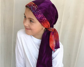 Child's Pre-Tied Head Scarf, Girl's Chemo Hat, Cancer Head Cover, Alopecia Headwear, Head Wrap, Cancer Gift, Hair Loss Gift, Purple Tie Dye