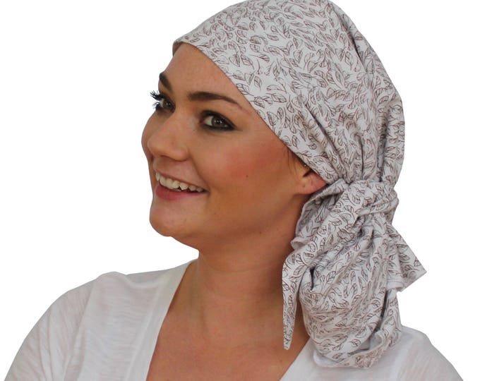 Featured listing image: Jessica Pre-Tied Head Scarf - Women's Cancer Headwear, Chemo Scarf, Alopecia Hat, Head Wrap, Head Cover for Hair Loss - Winter Leaves