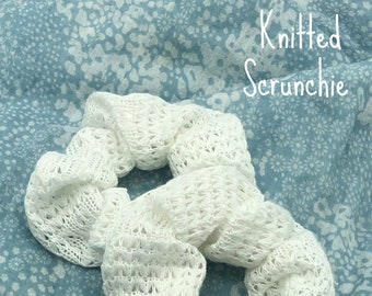 White Knit Scrunchie, Mother's Day Gift For Daughter