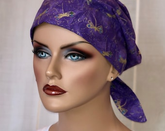 Scrub Caps For Women, Nurse Gift, Scrub Hats, Purple Dragonflies