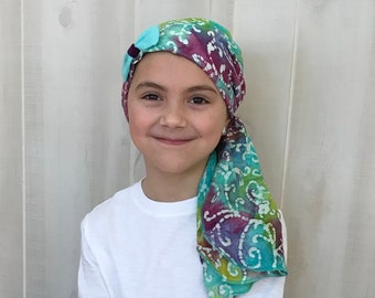 Child's Pre-Tied Head Scarf, Girl's Chemo Hat, Cancer Head Cover, Alopecia Headwear, Head Wrap, Cancer Gift, Hair Loss, Blue Purple Tie Dye