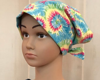 Children's Tie Dye Chemo Hat For Girls With Hair Loss, Thinking Of You Gift, Turquoise Head Wrap