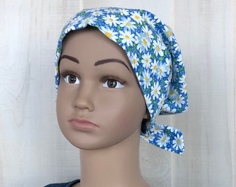 Child's Head Scarf For Girls With Hair Loss, Gift For Daughter, Chemo Hat, Blue Daisies