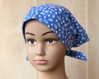 Children's Chemo Hat For Girls With Hair Loss, Cancer Gifts, Chemo Headwear, Blue Flowers