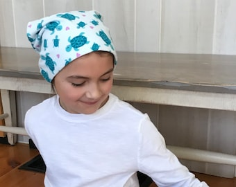 Children's Flannel Head Scarf, Girl's Cancer Hat, Chemo Headwear, Alopecia Head Cover, Head Wrap, Cancer Gift, Hair Loss, Blue Turtles